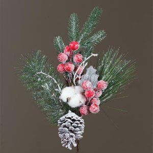Evergreen Faux Bough with Cranberries Cones Cotton